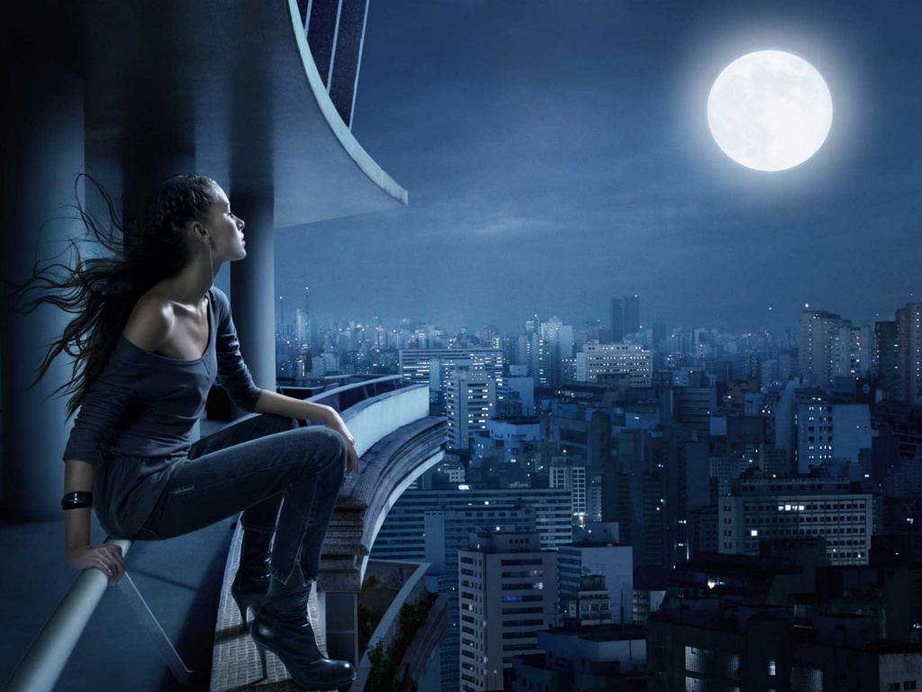 Beautiful-Model-And-Moon-hd-wallpapers-free