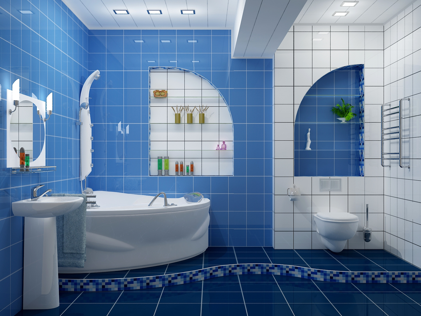 Blue Bathroom Wallpaper Idea For New Home