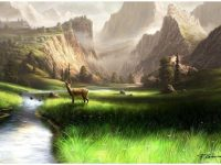 Green scenery painting wallpaper