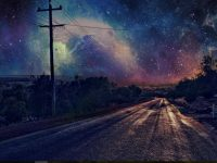Beautiful night sky road wallpaper