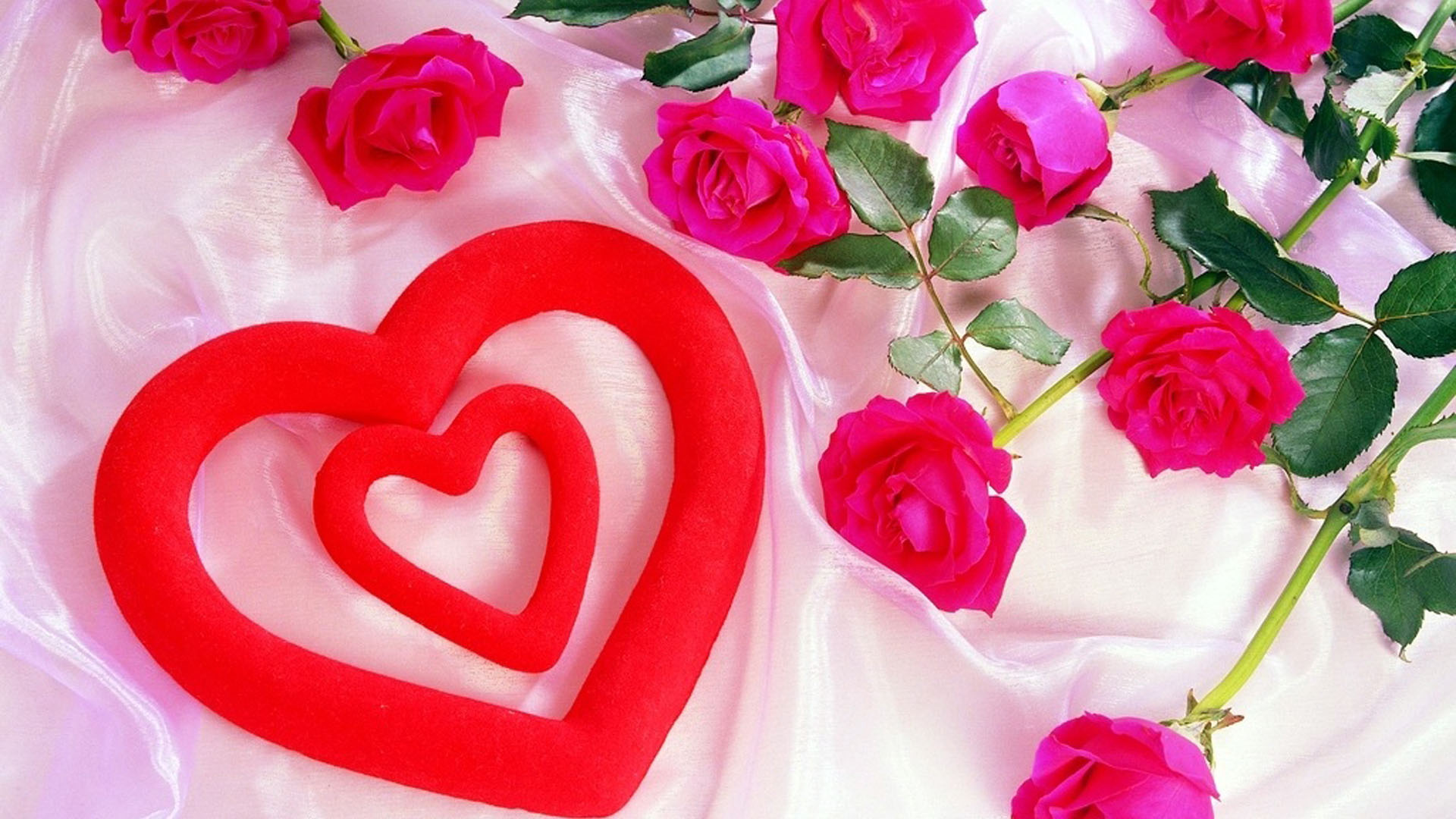 red-heart-with-pink-roses-wallpaper - hd wallpaper