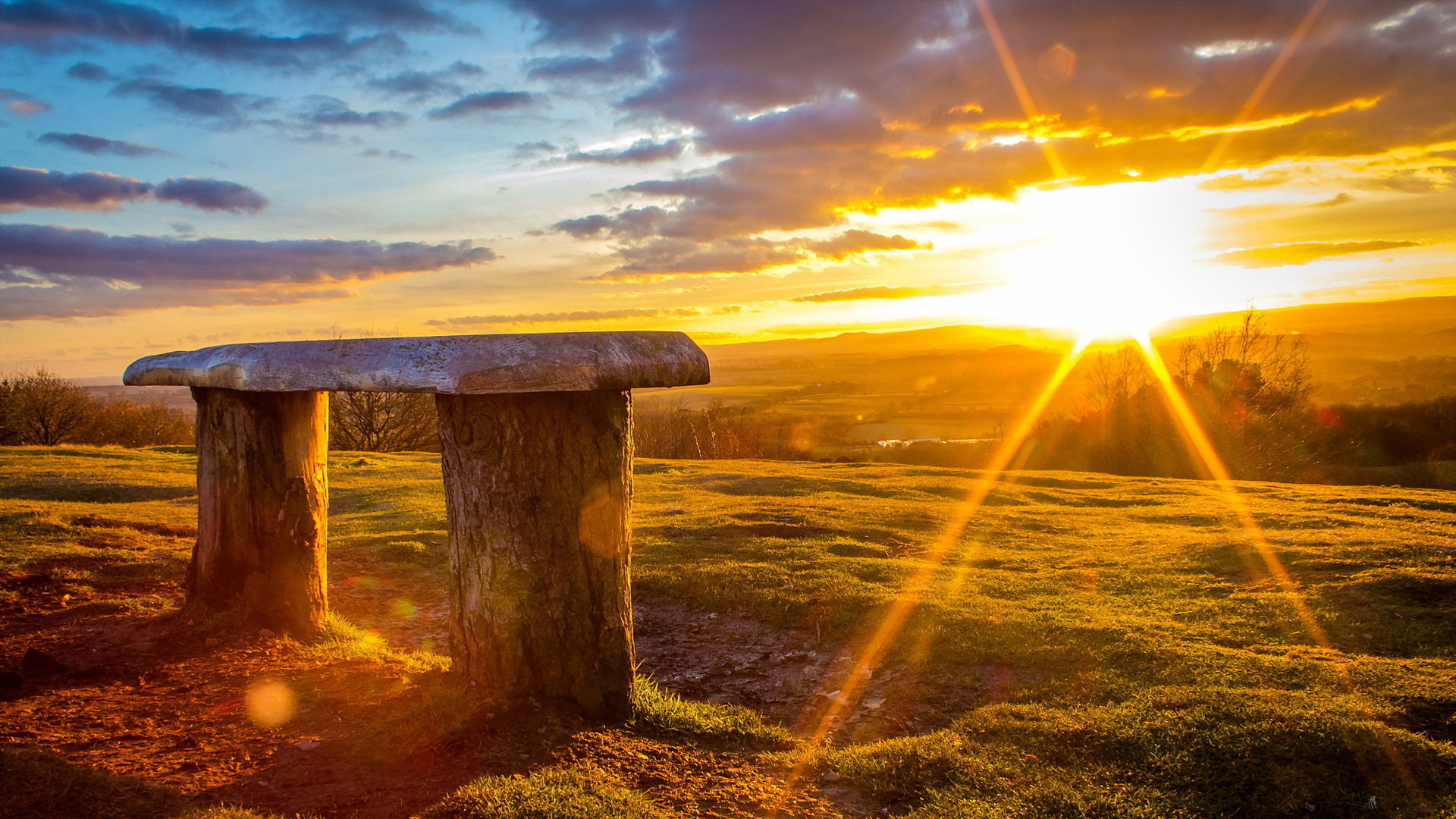 Log Bench Viewing A Wonderful Sunrise HD Desktop