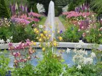Flower Garden Fountain HD Desktop Background