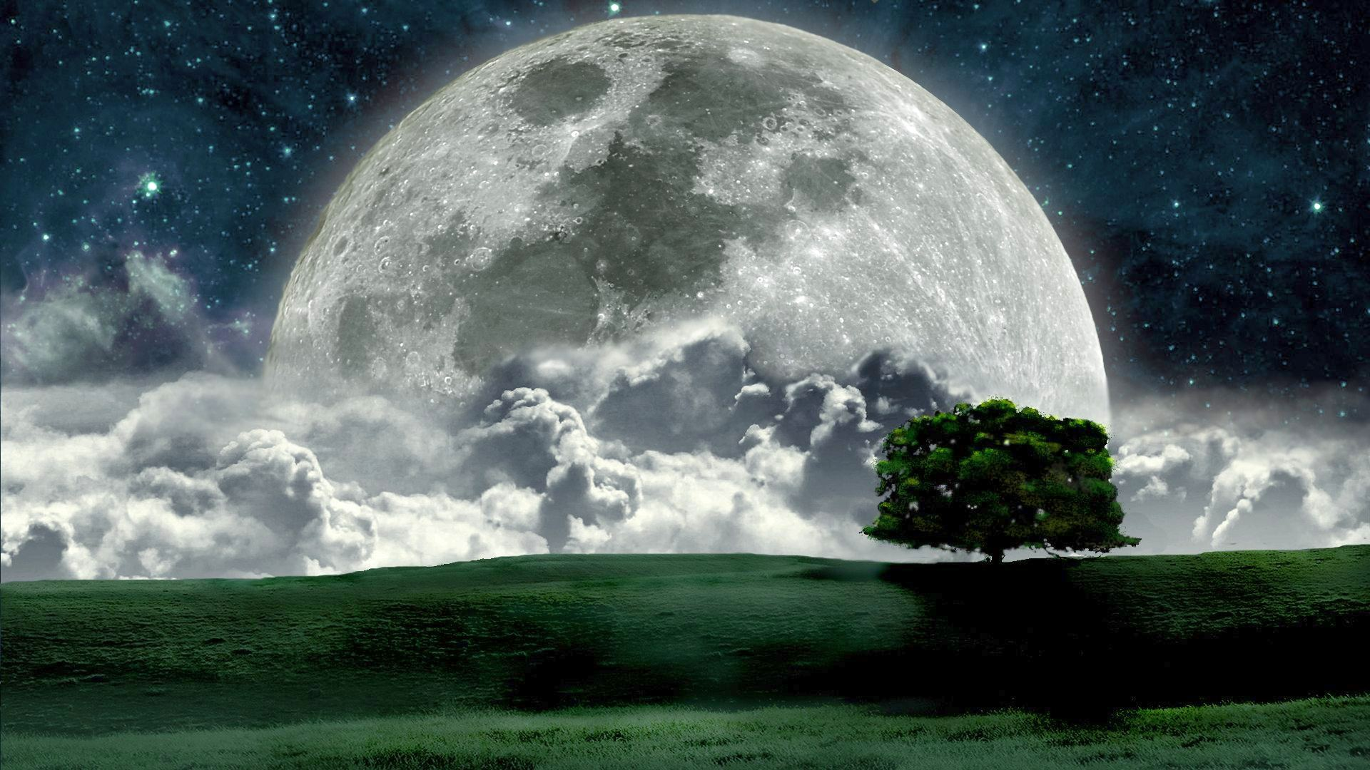 Beautiful Night Moon Photos HD Wallpaper Free Full