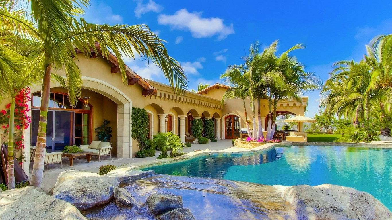 Summer villa houses beautiful pools photography palm trees for 3d wallpaper for dream home