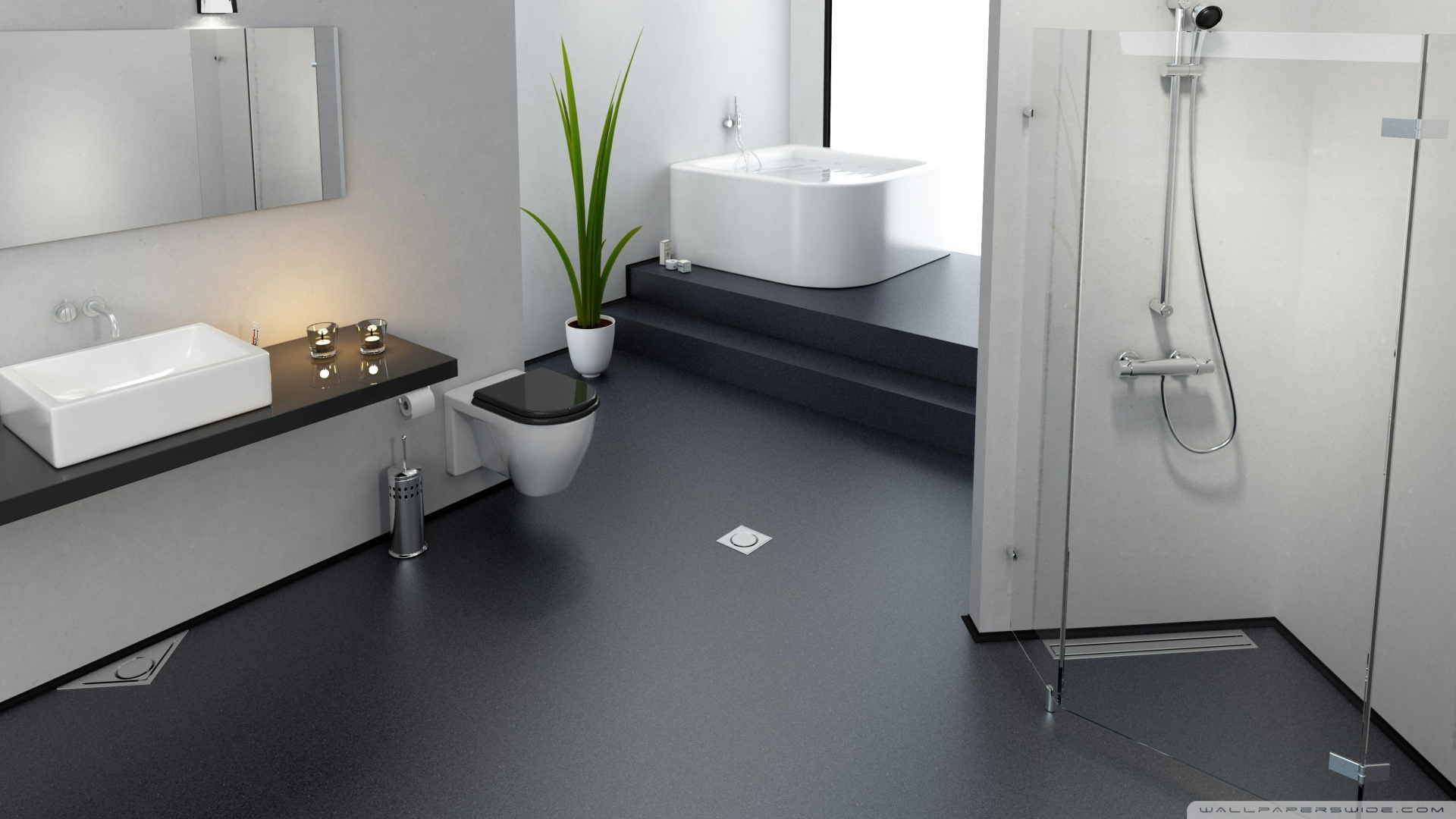 Bathroom Wallpaper on Black Floor. Bathroom Wallpaper Ideas Collection Free Download