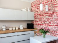 Kitchen wallpaper red look