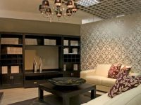 Living Room With Textured Wallpaper idea