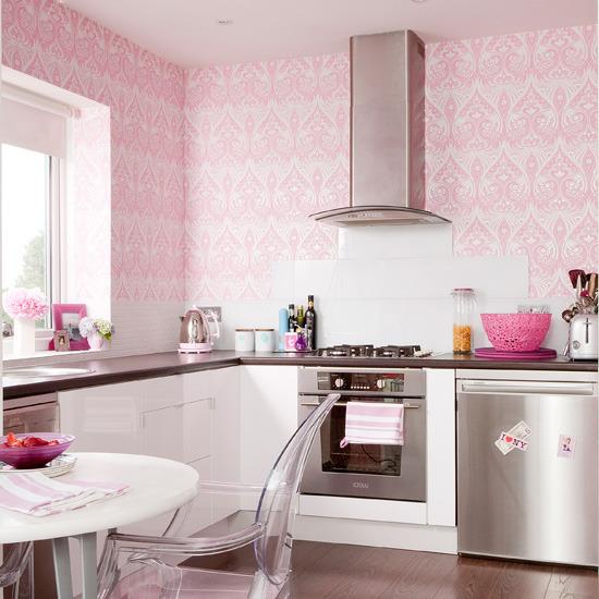 Cute Pink Kitchen Wallpaper