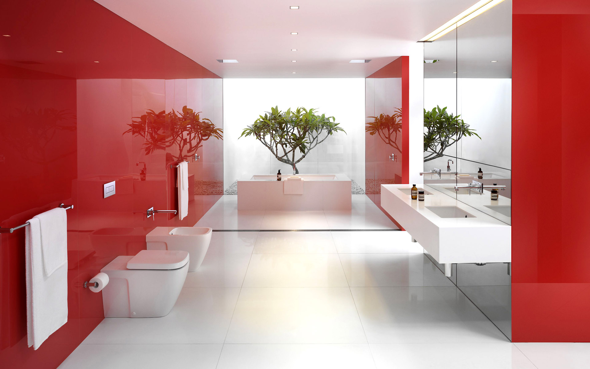 Red Bathroom Wallpaper Designs