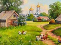Painting house of village wallpaper