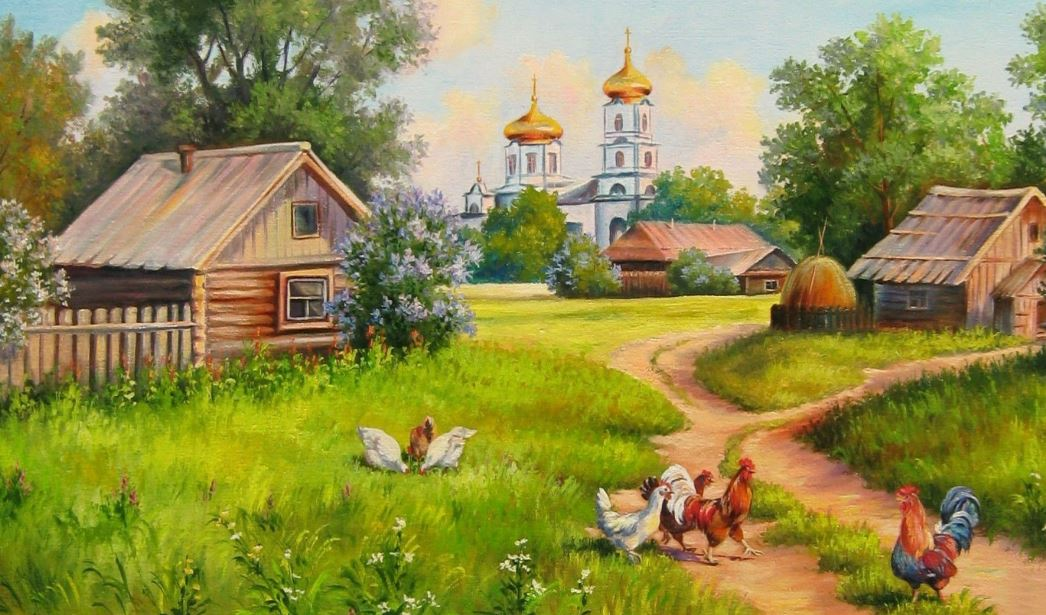 Painting house of village wallpaper hd wallpaper - Art village wallpaper ...