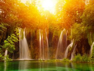 Sunrise Waterfall Wallpaper hd