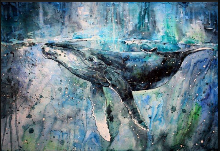 Picture Abstract Art In Hd Painting Free: Whale Art Wallpaper