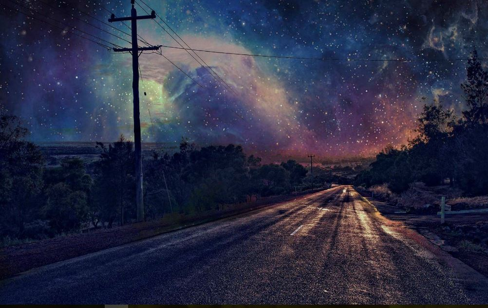 Beautiful Night Sky Road Wallpaper Hd Wallpaper
