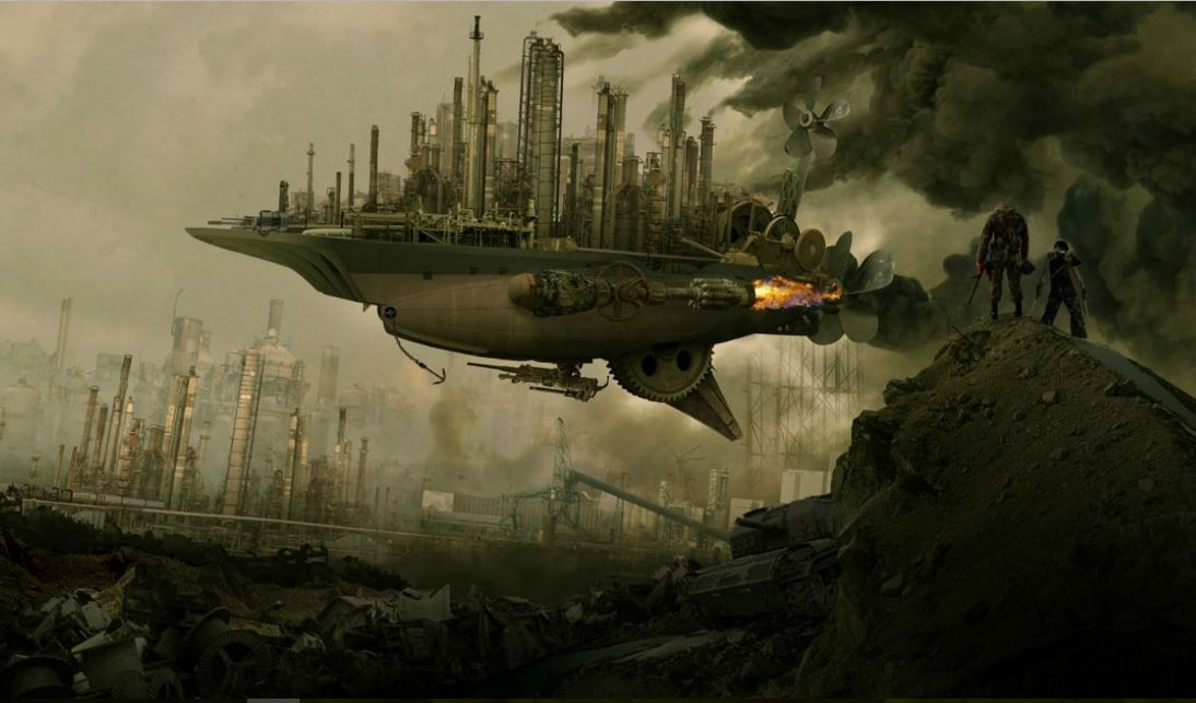 steampunk airship wallpaper hd