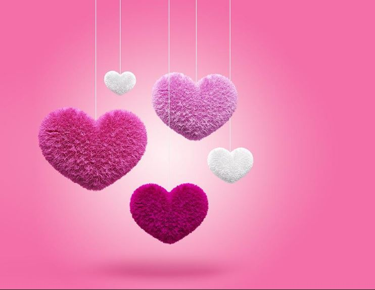 Fluffy Hearts HD Wallpaper