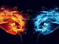 blue and red fire dragon wallpaper