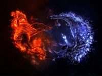 red and blue fire wallpaper cave