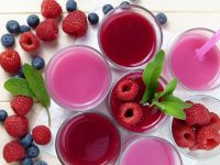 Raspberry blueberry smoothies juice